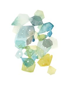 Hexagon with Dots in Blue Wall Art Prints by Yao Cheng | Minted