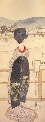 Okayama|岡山|Yumeji Art Museum|夢二郷土美術館|竹久夢二|加茂川 Kamogawa 大正3年頃(1914)/絹本着色 夢二郷土美術館を創設した、松田基初代館長のコレクション第一号の作品です。 京都の加茂川の彼方を眺める舞妓の白いうなじから、肩、着物の裾に至る やわらかな曲線に、日本女性の美しさが表現されています。 かすれた描線は、コマ絵・挿絵などの小画面から、 縦長の大画面に挑んだ夢二の初期の作品の特徴です。 淡い色調の画面を、赤い襟(えり)と黒地に大きく草花を配した、 だらりの帯がひきしめています。 舞妓のファッションに見られる斬新な夢二のデザインは、 現代の私たちが見ても新鮮です。