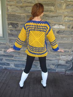 Afghan sweater - colors are Yellow and royal blue - made using acrylic yarn - care: handwash prefered -bust 40 inches wide This cardigan is the perfect Fall/Winter cardigan, cant you see yourself snuggling into its cozy warmth? This is a smaller version of my oversize cocoon