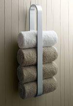 Bathroom, luxury white steel towel rack and three white smooth towel for elegant bathroom design: awesome towel rack ideas for terrific bathroom Bathroom Towel Storage, Bathroom Towels, Downstairs Bathroom, Rv Bathroom, Ensuite Bathrooms, Wooden Wall Bathroom, Hanging Towels, Diy Hanging, Amazing Bathrooms