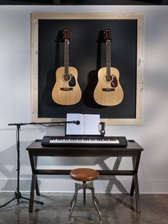 Browse a gallery of basement stage pictures from HGTV Smart Home 2014. A space designed to encourage musical inspiration boasts the homes most artistic chalkboard wall. Visit HGTV.com for details.