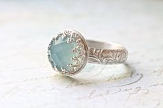 Blue Chalcedony Wedding Ring Set Crown Bezel & by ButtercupandCo, Jewelry Rings, Jewelry Accessories, Jewelry Design, Jewlery, The Bling Ring, Gold Ring, Schmuck Design, Blue Chalcedony, Vintage Rings