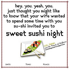 Such a fun date night idea  ((It's basically sweets made like sushi...cute!  S.))