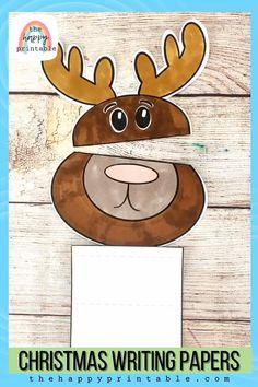Preschool Christmas Crafts, Christmas Printables, Christmas Writing, Christmas Fun, Diwali Crackers, Hidden Spaces, Christmas Characters, Writing Paper, Activities For Kids