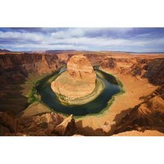USA Arizona Landscape Of Horseshoe Bend And Colorado River Near Page Canvas Art - Ron Dahlquist Design Pics (34 x 22)