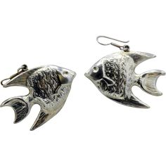 96aac1e4d Vintage Mexican Sterling Silver fish pierced earrings detailed signed SAUL