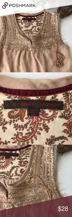 """A COMMON THREAD anthropologie rose gold Blouse - Clean and smoke free home - No holes or stains - Excellent // like new condition - Size: medium - pit to pit measures ~18"""" - back top to bottom hem measures ~25.5"""" - Check my other listings Anthropologie Tops Blouses"""