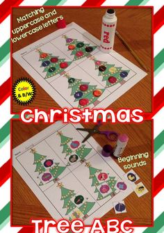 Students will trim Christmas trees while practicing letter recognition, matching uppercase and lowercase letters, letter sounds, beginning sounds, and visual discrimination. Comes in both color and black and white. https://www.teacherspayteachers.com/Product/Christmas-Tree-ABC-letters-letter-sounds-beginning-sounds-1601796