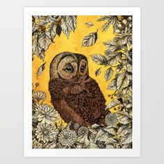 Tawny Owl Yellow Art Print by Angela Rizza. Worldwide shipping available at Society6.com. Just one of millions of high quality products available.