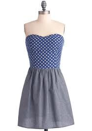 Blue and White Spotted bodice Grey skirt