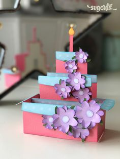 DIY Birthday Party Box Card - it folds flat to go inside its envelope!