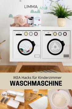 IKEA Hacks im Kinderzimmer sind schnell und einfach gebastelt. Eine Waschmaschine für Kinder ist die ideale Ergänzung zur Kinderküche. www.limmaland.com Kallax, Ikea Hacks, Washing Machine, Home Appliances, Nursery Ideas For Boys, Nursery Set Up, House Appliances, Appliances