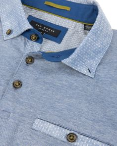 Linen collar polo - Blue | Tops & T-shirts | Ted Baker UK