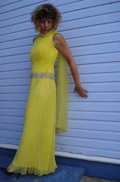 1960s Lemon Yellow Chiffon Evening Palazzo Jumpsuit by bycinbyhand, $115.00