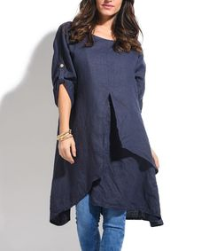 Navy Layered Linen Tunic