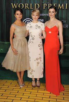 """HOLLYWOOD, CA - Actresses Mila Kunis, Michelle Williams and Rachel Weisz attend the world premiere of Walt Disney Pictures' """"Oz The Great And Powerful"""" at the El Capitan Theatre on February 13, 2013 in Hollywood, California.  (Photo by Kevin Winter/Getty Images)"""