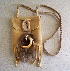Beaver Totem Medicine Bag Neck Pouch of brain Tanned Deer Skin by Miss Tudy on etsy