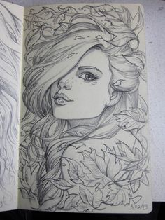 here is another drawing from my moleskine. I had fun with paeony flowers on this one. They are a complex flower to draw, but are worth the time. Anyway just another random picture for . Amazing Drawings, Beautiful Drawings, Cool Drawings, Drawing Sketches, Amazing Art, Sketching, Pretty Drawings Of Girls, Beautiful Girl Sketch, Awesome Sketches