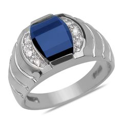 Ebay NissoniJewelry presents - .07CTTW Men's Ring with Created Sapphire in 10k White Gold    Model Number:GRV3123A-W077CSA    http://www.ebay.com/itm/.07CTTW-Men-s-Ring-with-Created-Sapphire-in-10k-White-Gold/321747806260