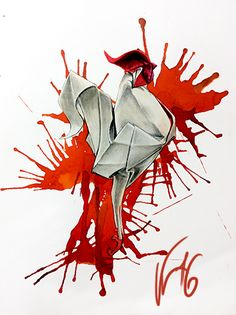 rooster watercolor origami tattoo / gallo origami tattoo watercolor