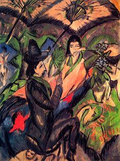 Couple under a Japanese Umbrella Ernst Ludwig Kirchner - 1912