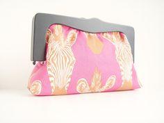 Original Wooden Frame Clutch, Zebra Print Clutch #handbag #clutch #pink #wildlife #african #dawanda