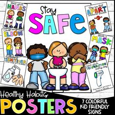 The new normal means some big changes for our students. Masks, social distancing, temperature checks, etc. are becoming routine parts of our school day. Encourage children to be mindful of these healthy habits with this colorful poster set. Posters Included: Stay Safe Wash your Hands Take your Temperature Wear a Mask Use Hand Sanitizer Cough in your Elbow Social Distance (Stay 6 Feet Apart) #backtoschool #school #education #teaching #teacher #student #teacherspayteachers #classroom #classroomdec Preschool Rules, Preschool Bulletin Boards, Classroom Board, Classroom Rules, Classroom Posters, School Classroom, Classroom Decor, Beginning Of School, Back To School