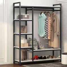 LITTLE TREE Free-Standing Closet Organizer,Heavy Duty Clothes Rack with 6 Shelves and Hanging Bar, Large Closet Storage System & Closet Garment Shelves,White&Black Closet Storage Systems, Closet System, Closet Organization, Large Shelves, Storage Shelves, Storage Spaces, Attic Storage, Storage Room, Storage Ideas