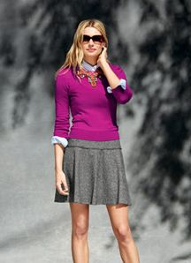 purple sweater & grey skirt outfit - banana republic