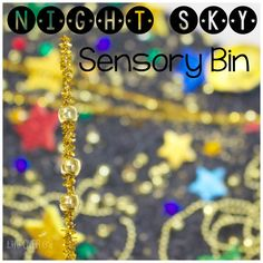 Your preschoolers will love exploring the stars and building language skills with this fun, sparkly night sky sensory bin.