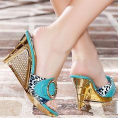 Mules women turquoise heels 9 cm size 39, online buy Mules woman MODATOI