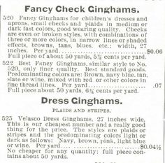 Gingham? Why gingham? – Kristin Holt | Dress Gingham listings in the Montgomery Ward & Co. Spring and Summer Catalogue of 1895.