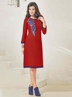 Polished red georgette embroidered casual wear tunic. Having fabric georgette and santoon. The embroidery work, stone work and chain stitch work seems chic and great for any party. #mydesiwear #tunics #casualweartunics #georgette #partyweartunics