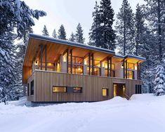 winter cabin made of cedar