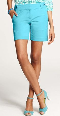 bright aqua summer shorts in the perfect length! #anntaylor