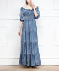 Look what I found on #zulily! Blue Scoop Neck Denim Peasant Maxi Dress by Miss Maxi #zulilyfinds