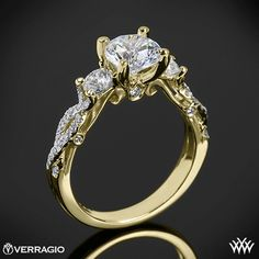 Yellow Gold Verragio Twisted Shank 3 Stone Engagement Ring from the Verragio Insignia Collection.