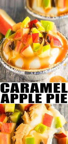 APPLE PIE RECIPE- Quick, easy, no bake, made with simple ingredients. This rich and creamy pie is loaded with apples, caramel sauce and chocolate chips. Fall Dessert Recipes, Thanksgiving Recipes, Fun Desserts, Fall Recipes, Winter Desserts, Healthy Desserts, Caramel Recipes, Apple Recipes, Sweet Recipes