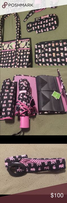 Vera Bradley Black, Pink and Green Elephant Set Tote bag, large wallet/cardholder - Both Very Gently Used  The below items have never been used: water bottle cover, belt, umbrella and cover, and cd case. Bags Clutches & Wristlets