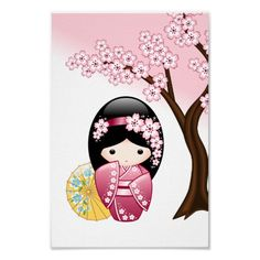 SOLD! To a customer in France. Spring Kokeshi Doll Print