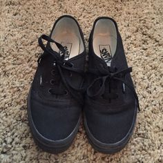 Black vans Black vans. Women's size 7. Men's size 5.5. Great condition. Only worn a couple times. Vans Shoes