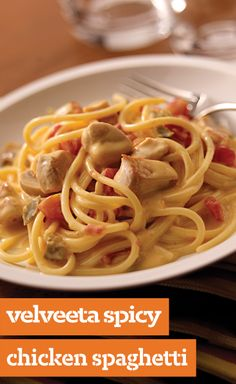 VELVEETA Spicy Chicken Spaghetti — This chicken and spaghetti skillet strikes the perfect balance between creamy and spicy with melted VELVEETA and green chile-spiked diced tomatoes.