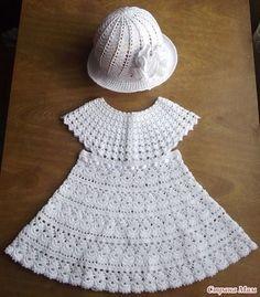 crocheting,crochetpattern-Summer dress and panama for girls crochet crocheting crochetpattern knitting knittingpattern Crochet Girls Dress Pattern, Crochet Vest Pattern, Crochet Doll Dress, Crochet Doll Clothes, Crochet Patterns, Crochet Toddler, Crochet For Kids, Baby Knitting Patterns, Crochet Wedding Dresses