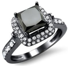 2.70ct Black Princess Cut Diamond Engagement Ring 18k Black Gold / Front Jewelers