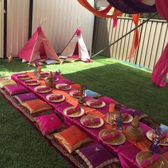 """Gorgeous setup for an Arabians princess 10th birthday Teepee by @petite_events_hire Props @arabianhiresydney Gold plates @elegant_tea_time #arabiancake…"""