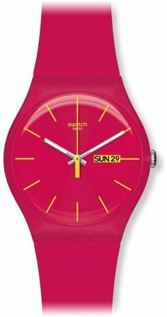 Swatch Women's SUOR704 Plastic Red Dial Watch Swatch. $59.50. Plastic crystal. Quartz movement. Case diameter: 41 mm. Water-resistant to 30 M (99 feet). Casual watch. Save 15% Off!