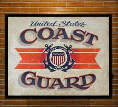 US Coast Guard Print from an original hand painted and lettered sign. Study, Den, Man-cave decor by ZekesAntiqueSigns on Etsy Painted Signs, Hand Painted, Hand Drawn Type, Us Coast Guard, Antique Signs, Sign Printing, Hand Lettering, How To Draw Hands, Man Cave