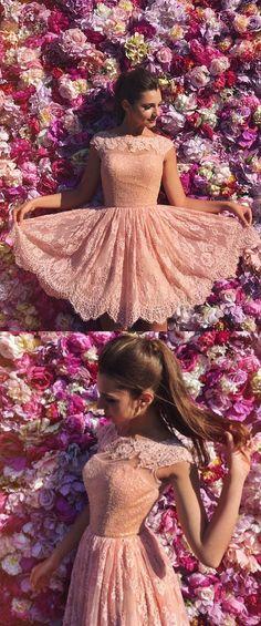 Short Prom Dresses, Lace Prom Dresses, Prom Dresses Short, Open Back Prom Dresses, Princess Prom Dresses, Prom Dresses Lace, Lace Homecoming Dresses, Short Homecoming Dresses, Prom Dresses Open Back, Homecoming Dresses Short, A Line dresses, Open Back Dresses, Princess A Line Open Back Cap Sleeves Prom Dresses,Pink Short Lace Homecoming Dresses
