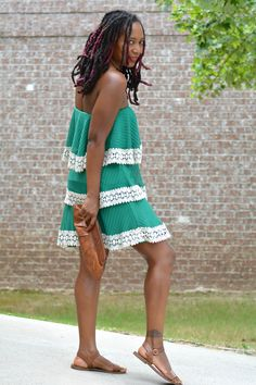 Thrift store halter style boho chic tiered green dress new with tags retail $98. Only $12 at thrift store worn with Goodwill Fossil leather clutch, thrift store necklace and Steve Madden flat sandals #SimplySmooth ad