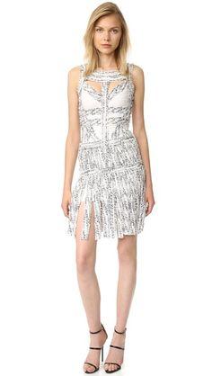 Herve Leger Платье Joseline с бахромой
